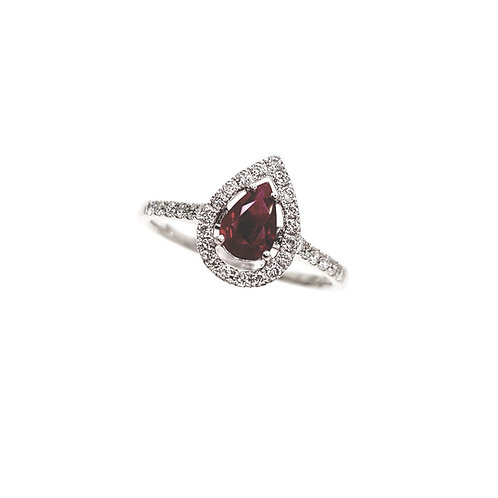 Bague Or blanc rubis et diamants