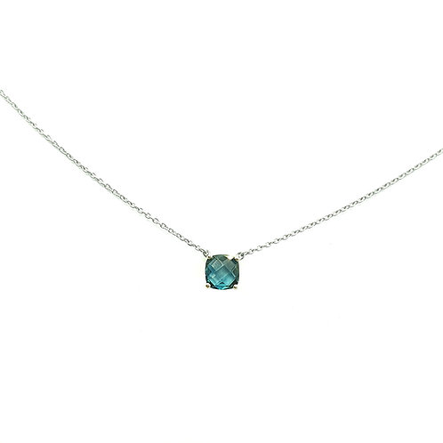 Collier Or blanc 18 carats topaze