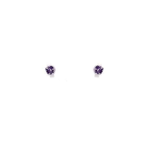 Boucle d'oreille or blanc 18 carats améthyste