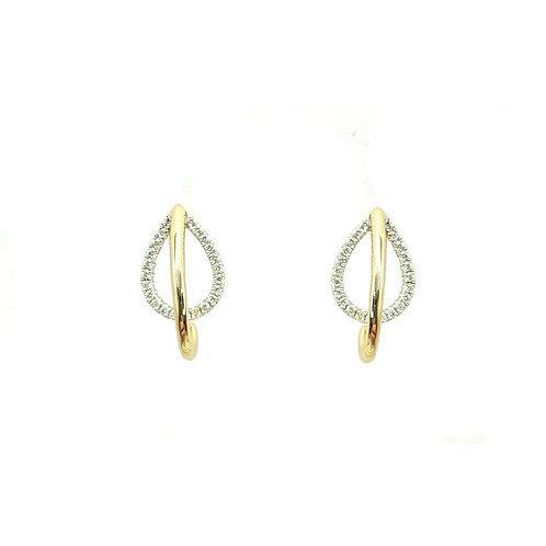 Boucle d'oreille or jaune et or blanc diamants