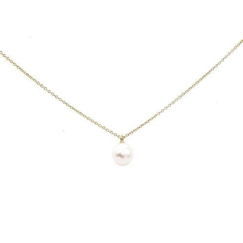 Collier or jaune 18 carats avec perle de culture