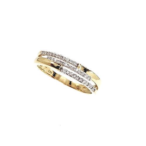 Bague Or jaune et or blanc 18 carats et diamants