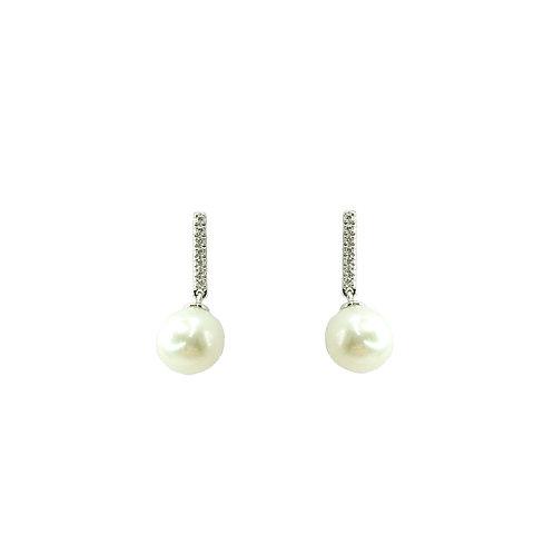 Boucle d'oreille or blanc perle et diamants
