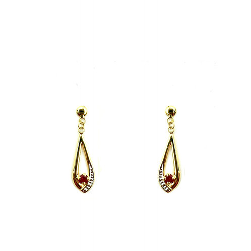 Boucle d'oreille or jaune rubis
