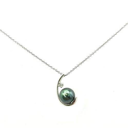Collier Or blanc 18 carats perle de Tahiti et diamant