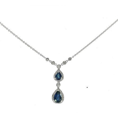Collier Or blanc 18 carats diamants et saphirs