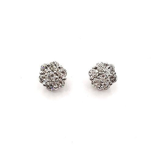 Boucle d'oreille or blanc 18 carats diamants