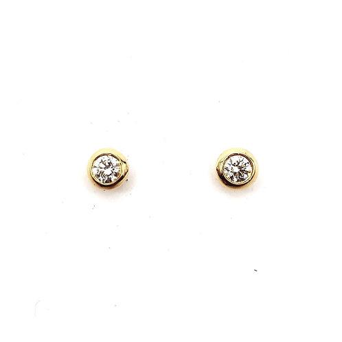 Boucle d'oreille or jaune diamant