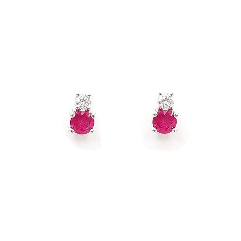 Boucle d'oreille or blanc 18 carats rubis et diamants