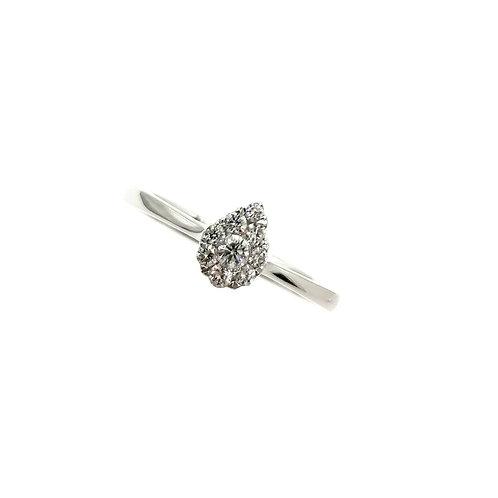 Bague Or blanc 18 carats solitaire multi-diamants