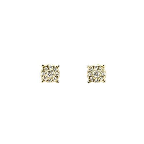 Boucle d'oreille or jaune multi-diamants