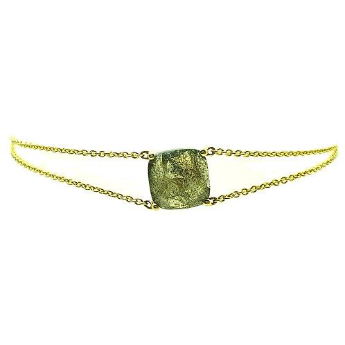 Bracelet or jaune labradorite