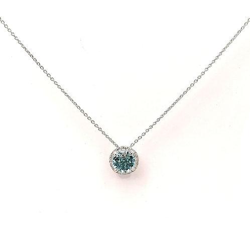 Collier Or blanc 18 carats diamants et topaze