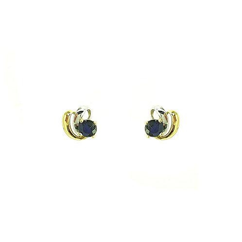 Boucles d'oreilles or blanc et or jaune 18 carats saphir