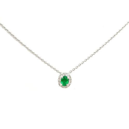Collier Or blanc 18 carats diamants et émeraude