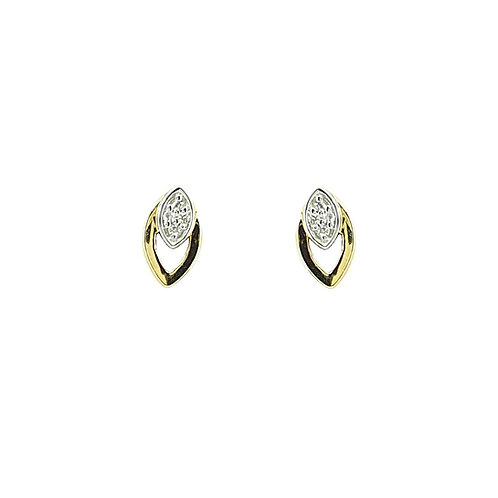 Boucle d'oreille or jaune et blanc et diamants
