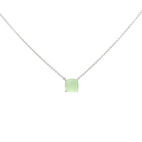 Collier Or blanc 18 carats Calcedoine