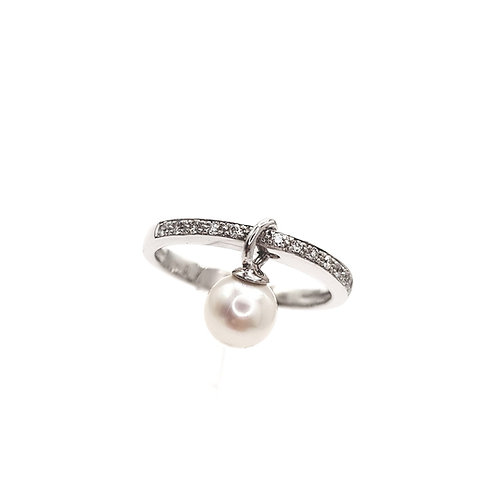 Bague Or blanc perle et diamants