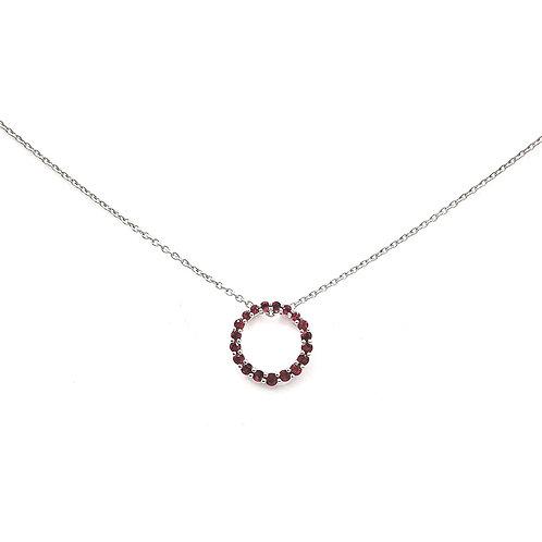 Collier Or blanc 18 carats rubis