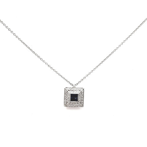 Collier Or blanc 18 carats diamants et saphirs