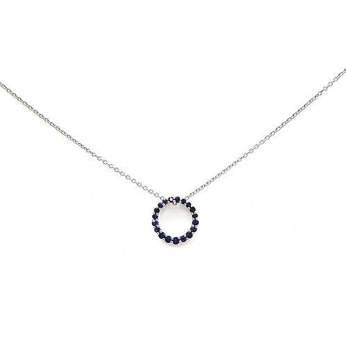 Collier Or blanc 18 carats saphir