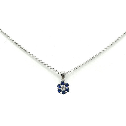 Collier Or blanc 18 carats diamant et saphirs