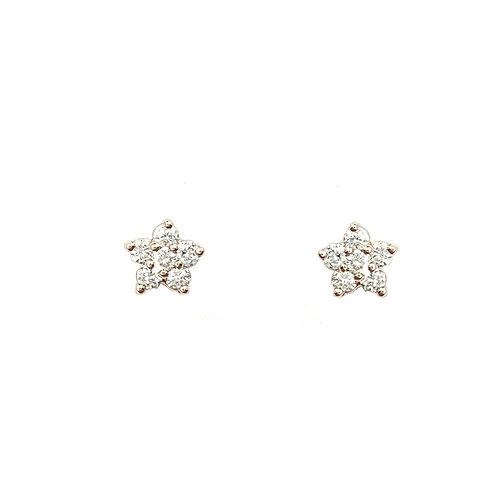Boucle d'oreille or rose diamants