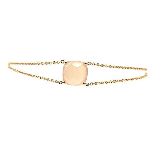 Bracelet or rose et calcedoine
