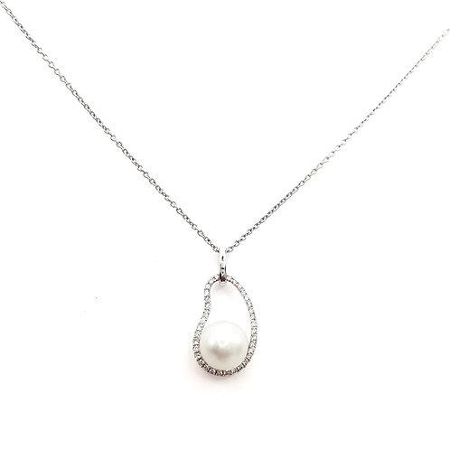 Pendentif Or blanc 18 carats diamants et perle