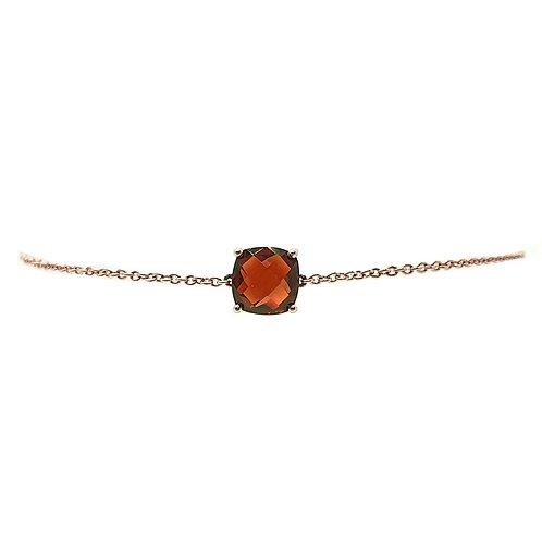 Bracelet or rose et grenat