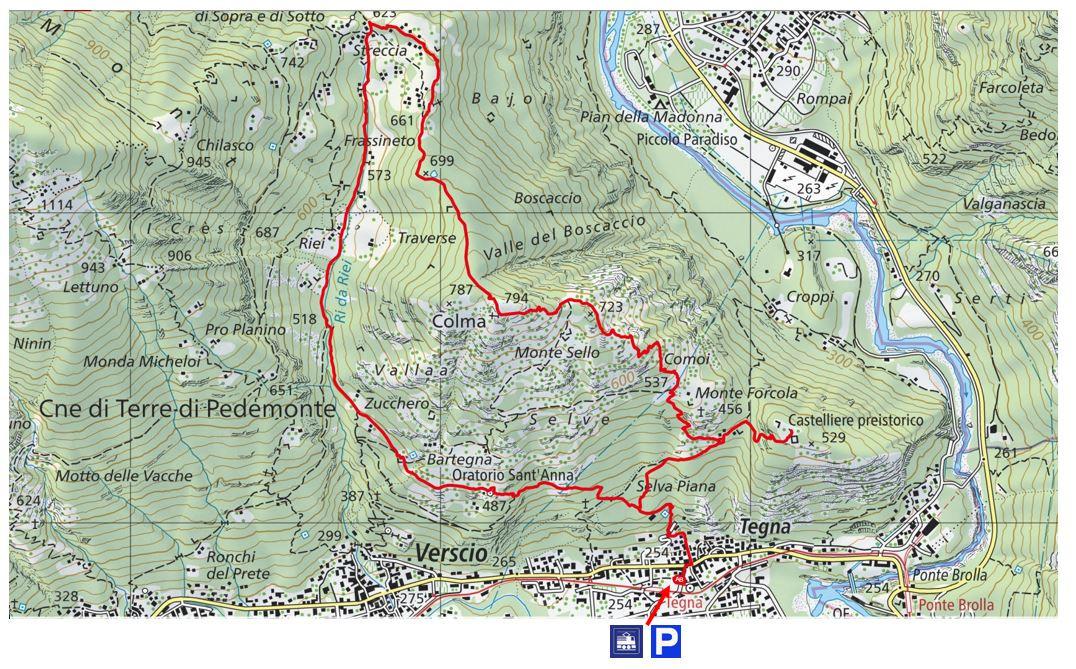 Kartenausschnitt Tegna-Colma