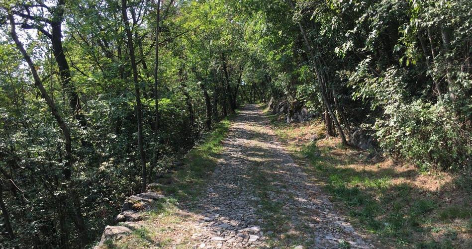 Pflastersteinweg Richtung Tremona
