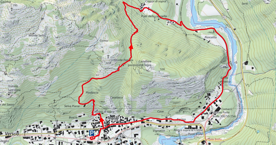 Kartenausschnitt Tegna-Forcola