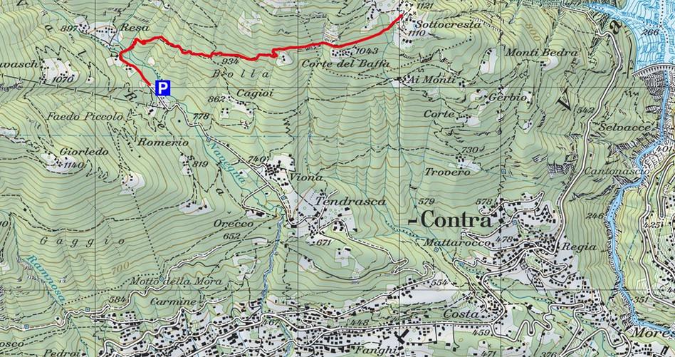 Kartenausschnitt ab Val Resa