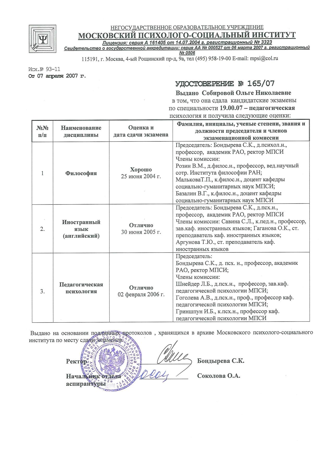 2007 МПСИ КАНДИДАТСКИЕ ЭКЗАМЕНЫ