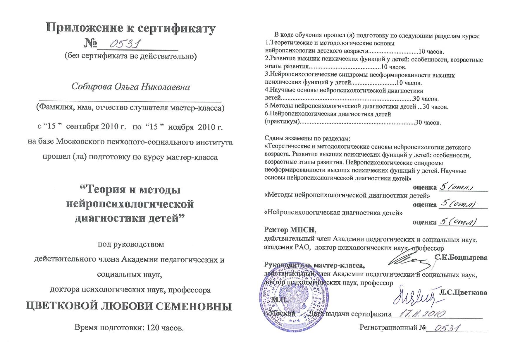 2010 приложение к Сертификату