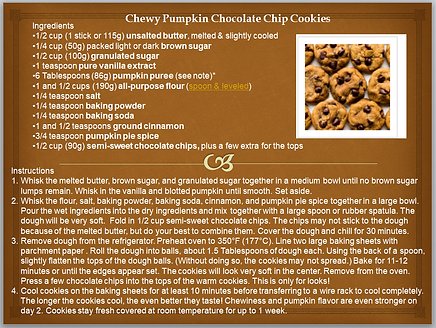 CHEWY PUMPKIN CHOCOLATE CHIP COOKIES REC