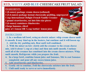 red white and blue cheesecake fruit sala