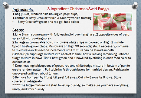 3 ingredient Christmas swirl fudge recip