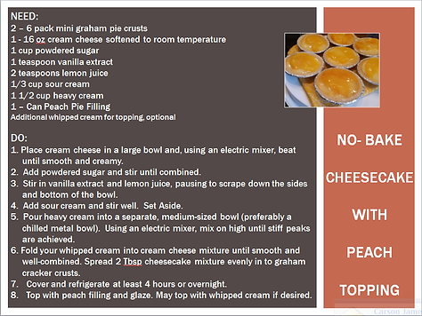 NO BAKE CHEESECAKE WITH PEACH TOPPING RE