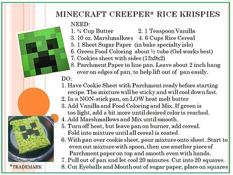 mine craft creeper rice krispie recipe.p