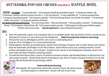 Buttermilk popcorn chicken salad in a wa