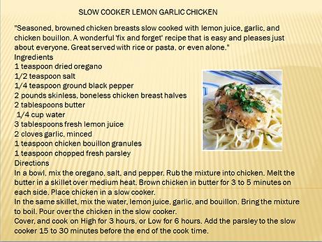 SLOW COOKER LEMON GARLIC CHICKEN RECIPE.