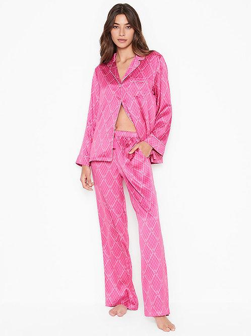 Атласная пижама Victoria`s Secret (Hot Pink Fishnet Logo)