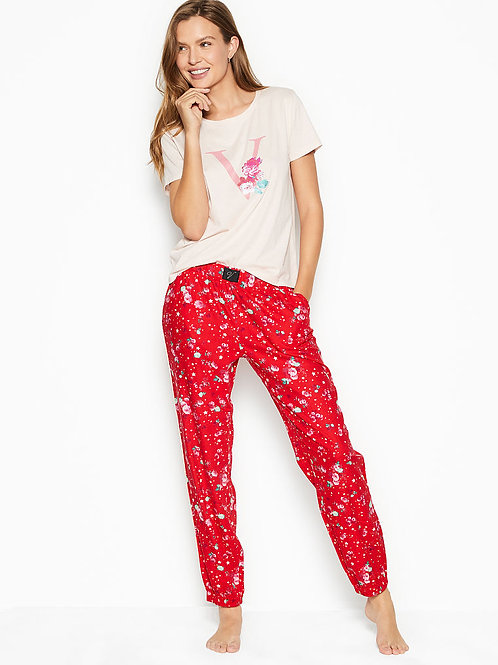 Пижама Victoria`s Secret Cotton & Flannel Long Lounge PJs (Red Starry Floral)