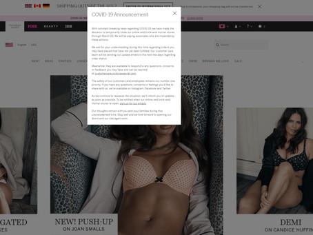 Victoria's Secret приостановила продажи своей продукции до 29.03.2020.