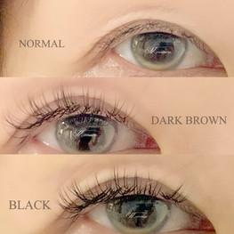 ダークブラウンのカラーエクステと通常の黒のマツエクを比較!