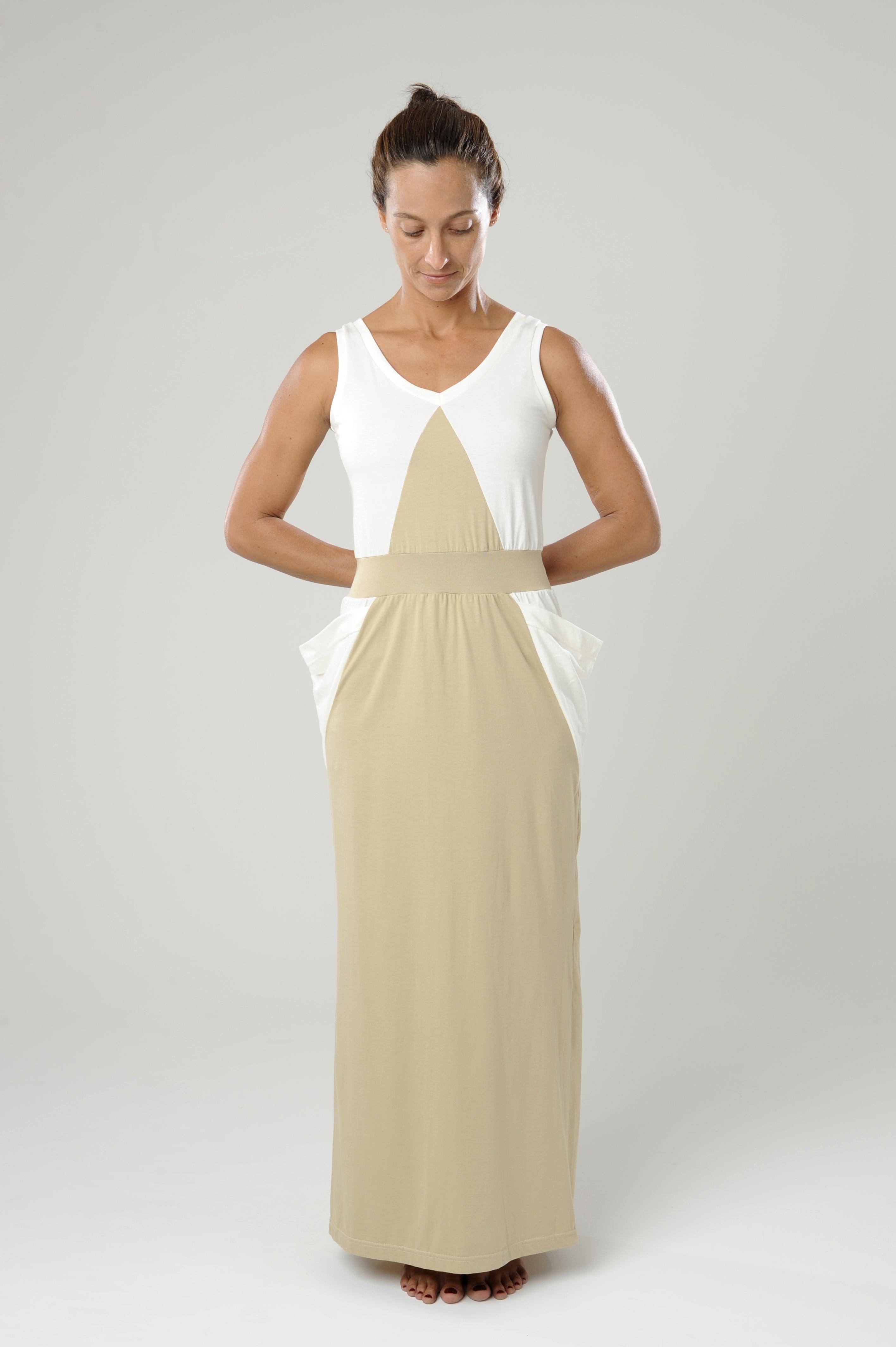 vestido bicolor longo