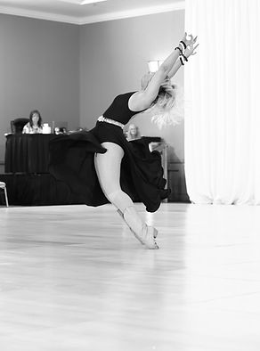Dancer doing cool move in dance shoes