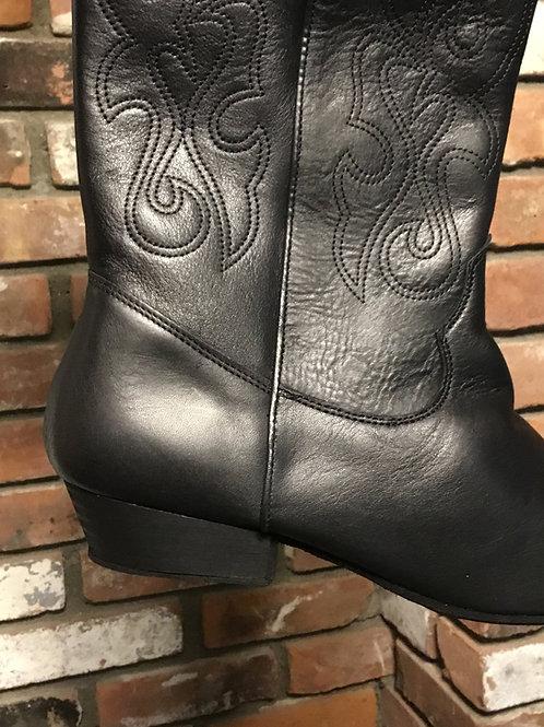 Black Leather Pro Dance Boot - Low Heel